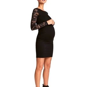 H&M Mama Black Lace Sleeve Mini Dress